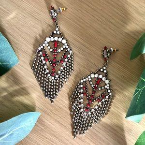 Bronze & Red Beaded Fringe Waterfall Earrings